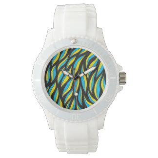 yellow blue pattern watch