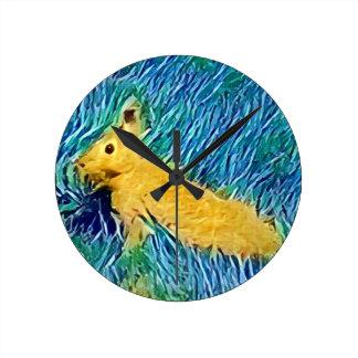 Yellow Blue Photomanipulation Painted Bunny Clock