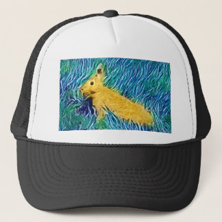 Yellow Blue Photomanipulation Painted Bunny Trucker Hat