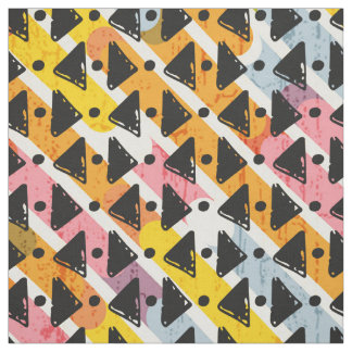 Yellow blue pink black white criss cross weave fabric