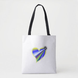 Yellow Blue Rainbow Heart with Stars Tote Bag
