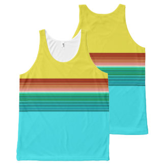 Yellow Blue Red Multicolor Striped Pattern All-Over-Print Tank Top