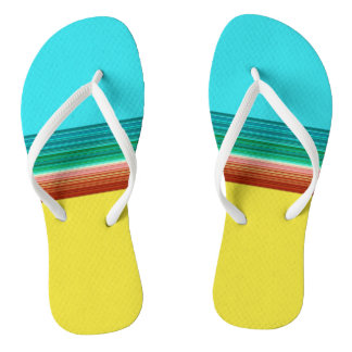 Yellow Blue Red Multicolor Striped Pattern Flip Flops