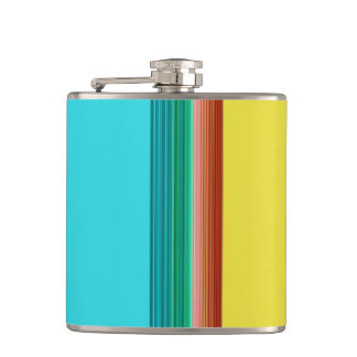 Yellow Blue Red Multicolor Striped Pattern Hip Flask