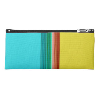 Yellow Blue Red Multicolor Striped Pattern Pencil Case