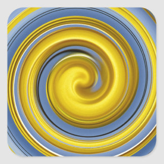 Yellow-blue spiral sample square sticker