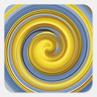 Yellow-blue spiral sample square sticker