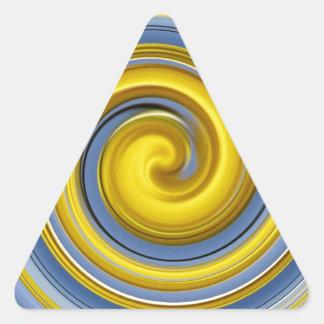 Yellow-blue spiral sample triangle sticker