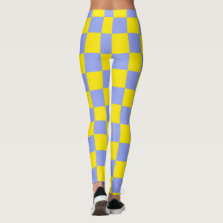 Yellow & Blue Squares abstract repeatable Leggings