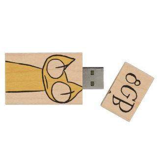 Yellow, Blue Staring Cats Wood USB 3.0 Flash Drive