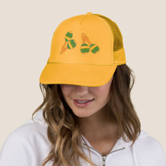 Yellow Blue Striped Maracas Fiesta Music Party Trucker Hat