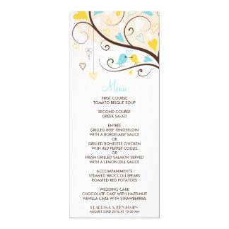 "Yellow & Blue Summer Lovebirds Menu Card 4"" X 9.25"" Invitation Card"