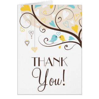 Yellow & Blue Summer Lovebirds Thank You Card