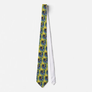 Yellow Blue Swirl Dot Tie-Dye Necktie