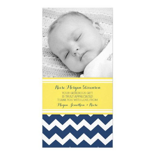 Yellow Blue Thank You Baby Shower Photo Cards