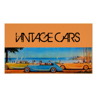YELLOW BLUE VINTAGE CARS ON THE BEACH ROAD POSTER