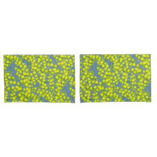 Yellow blue wattle acacia botanica art pillows pillowcase