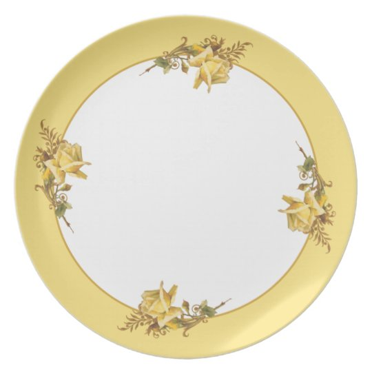 Yellow Border Floral Plate