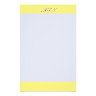 yellow border monogram stationery