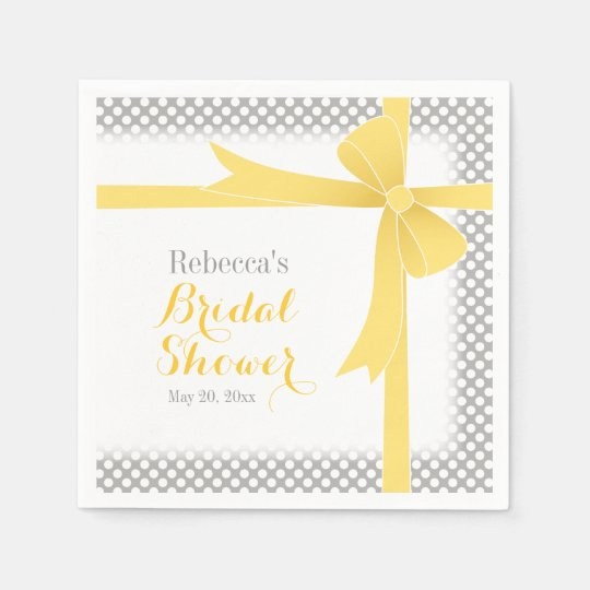 Yellow Bow & White Dots Bridal Shower Disposable Napkin