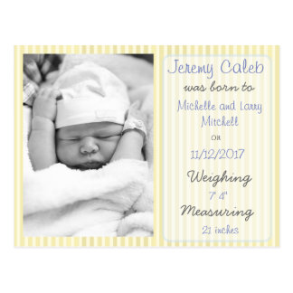 Yellow Boy Birth Announcement Postcard