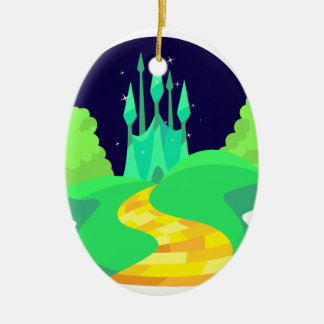 yellow brick road ceramic oval ornament