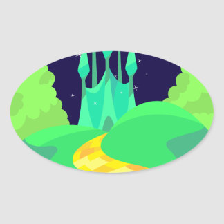 yellow brick road oval sticker