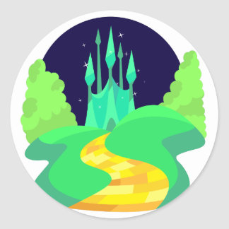 yellow brick road round sticker
