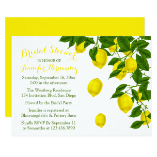 Yellow Bridal Shower Lemons & Green Watercolor Card