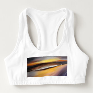 Yellow Brown Abstract Sunset Sports Bra