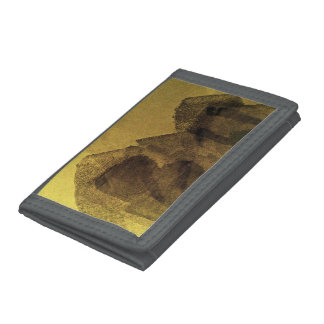 Yellow brown black abstract painting brush strokes trifold wallet