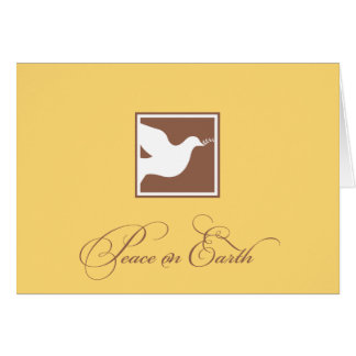 Yellow brown dove peace on earth business logo note card