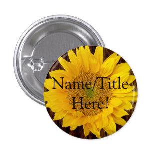 Yellow Brown Late Summer Sunflower Wedding 1 Inch Round Button