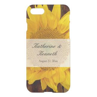 Yellow Brown Late Summer Sunflower Wedding iPhone 7 Case