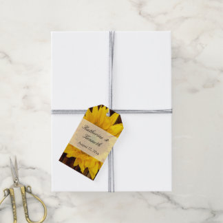 Yellow Brown Late Summer Sunflower Wedding Pack Of Gift Tags