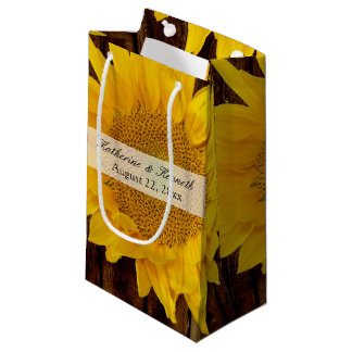 Yellow Brown Late Summer Sunflower Wedding Small Gift Bag