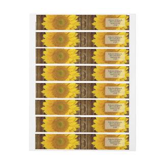 Yellow Brown Late Summer Sunflower Wedding Wrap Around Label