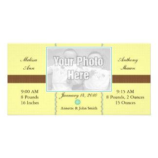Yellow & Brown Polkadots Custom Photo Card