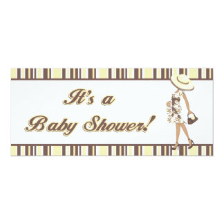 Yellow & Brown Striped Baby Shower Invitation