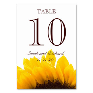 Yellow Brown Sunflower Wedding Table Number Card Table Cards