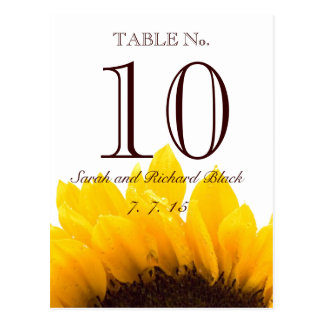 Yellow Brown Sunflower Wedding Table Number Postcard