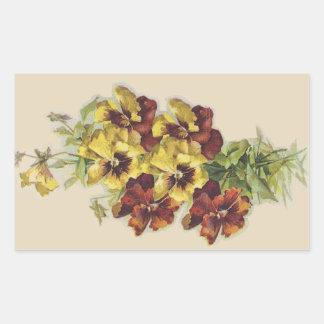 Yellow + Brown Victorian Pansies Sticker