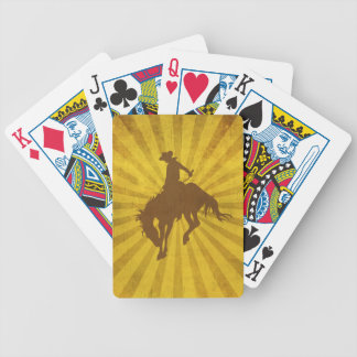 Yellow Brown Vintage Cowboy Bicycle Playing Cards