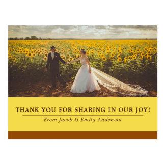 Yellow Brown Wedding Bride Groom Photo Thank You Postcard