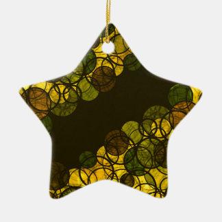 Yellow bubbles ceramic star ornament