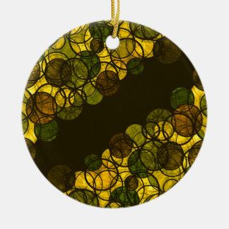 Yellow bubbles round ceramic ornament