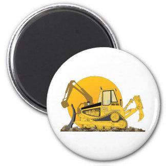 Yellow Bulldozer Sun 2 Inch Round Magnet