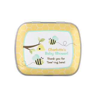 Yellow Bumble Bee Custom Jelly Bean Tin (Blue) Candy Tin