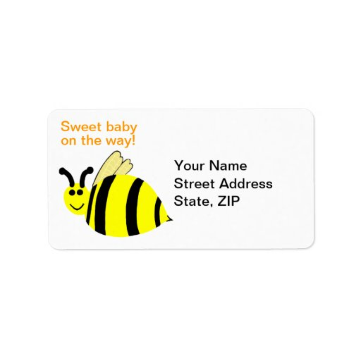 Yellow Bumble Bee Sweet Baby Address Labels
