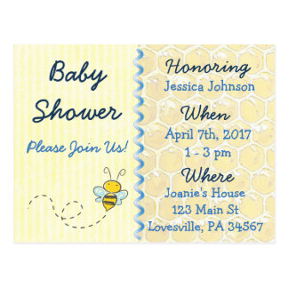 Yellow Bumblebee Baby Shower Invitation Postcard